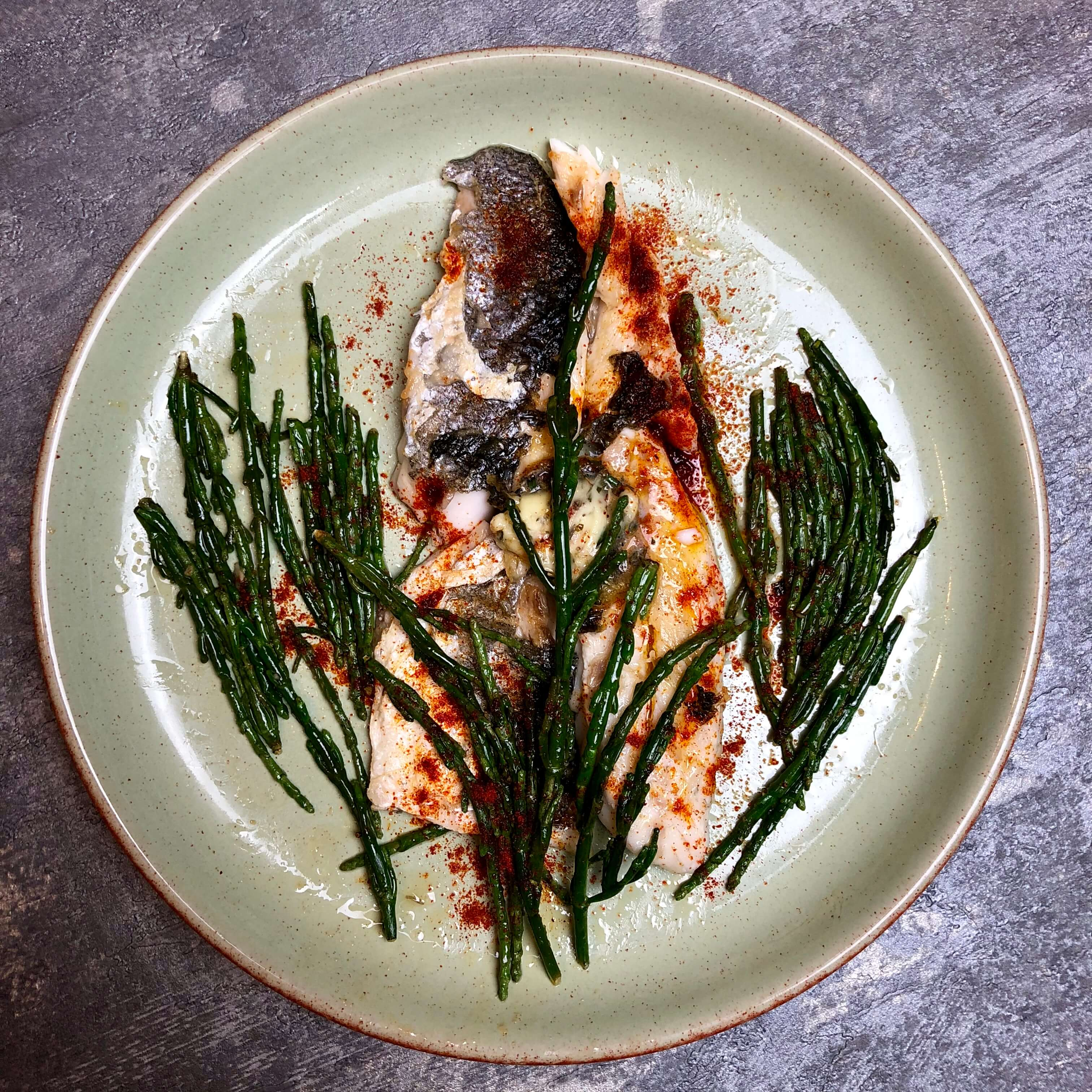 Nate 39 s garlicky butter sea bass samphire recipe nate 39 s for Turkish sea bass recipe